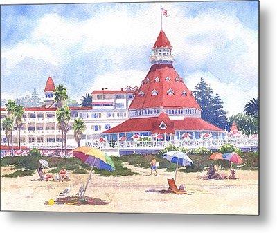 Hotel Del Coronado Beach Metal Print by Mary Helmreich