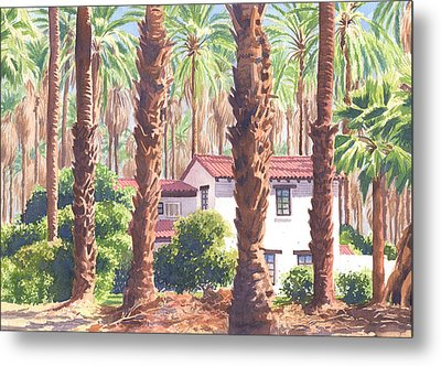 House Among Date Palms In Indio Metal Print by Mary Helmreich