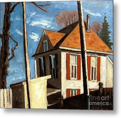House On The Hill On Spring Street Metal Print by Charlie Spear