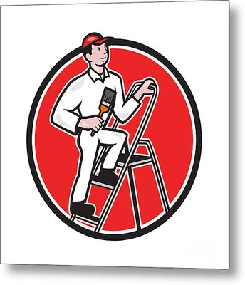 House Painter Paintbrush On Ladder Cartoon Metal Print by Aloysius Patrimonio