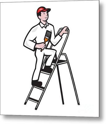 House Painter Standing On Ladder Cartoon Metal Print by Aloysius Patrimonio