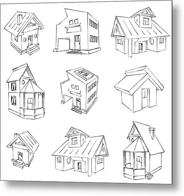 House Sketch Set Metal Print by Ioan Panaite