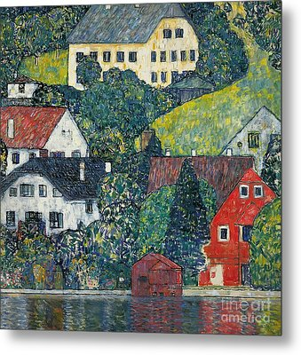 Houses At Unterach On The Attersee Metal Print by Gustav Klimt