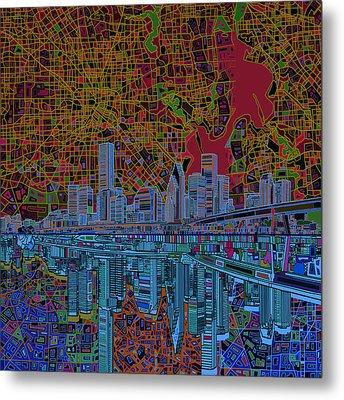 Houston Skyline Abstract 3 Metal Print by Bekim Art