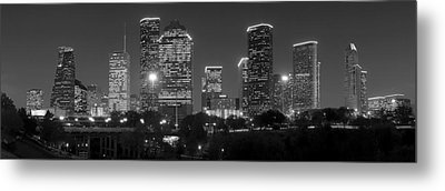 Houston Skyline At Night Black And White Bw Metal Print by Jon Holiday