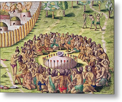 How The Chief Is Buried Metal Print by Jacques Le Moyne