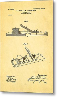 Howell And Chamberlain French-fry Potato Cutter Patent Art 1900 Metal Print by Ian Monk
