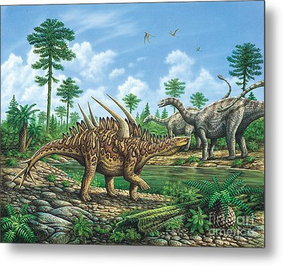 Huayangosaurus And Shunosaurus Metal Print by Phil Wilson