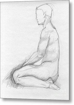Human Sitting Figure Metal Print by Peut Etre