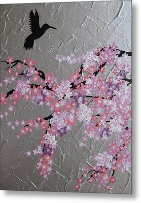 Humming Bird With Cherry Blossom Metal Print by Cathy Jacobs