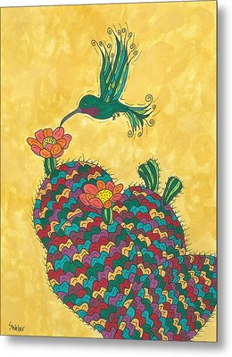 Hummingbird And Prickly Pear Metal Print by Susie Weber
