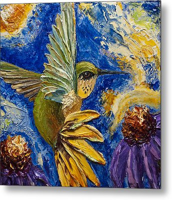 Hummingbird And Purple Cone Flowers Metal Print by Paris Wyatt Llanso