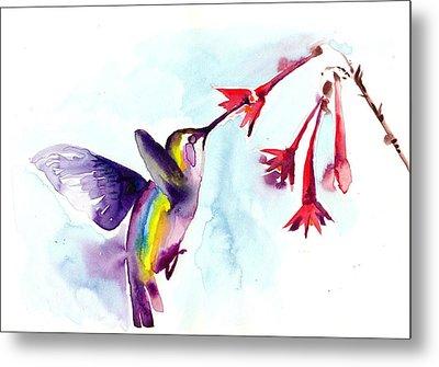 Hummingbird In Red Flowers Watercolor Metal Print by Tiberiu Soos