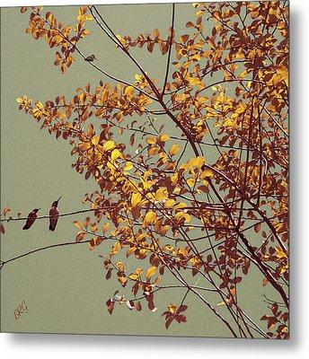 Hummingbirds On Yellow Tree Metal Print by Ben and Raisa Gertsberg