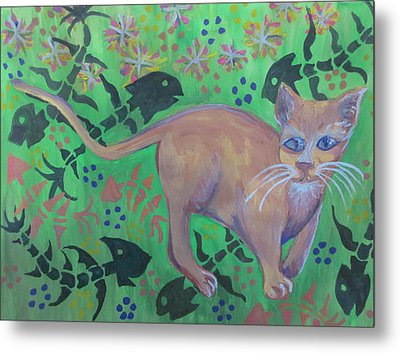 Hungry Cat Metal Print by Cherie Sexsmith