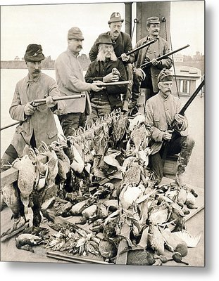 Hunters Pose With Their Birds Metal Print by Underwood Archives
