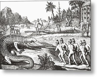 Hunting Alligators In The Southern States Of America Metal Print by Theodor de Bry