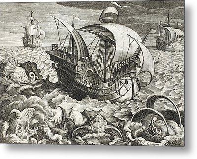 Hunting Sea Creatures Metal Print by Jan Van Der Straet