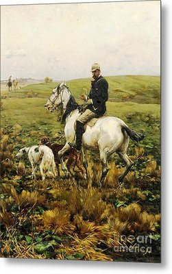 Huntsman With Hounds Metal Print by Pg Reproductions