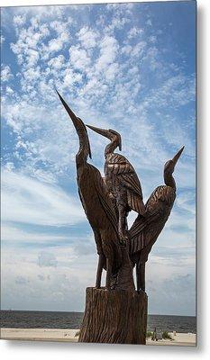 Hurricane Katrina Wood Carving Metal Print by Jim West