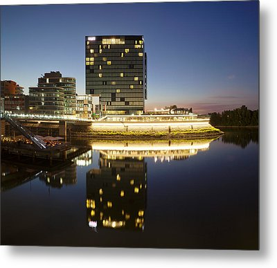Hyatt Hotel At Dusk, Media Harbour Metal Print by Panoramic Images