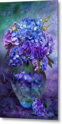 Hydrangeas In Hydrangea Vase Metal Print by Carol Cavalaris