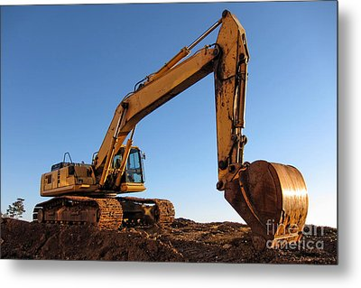 Hydraulic Excavator Metal Print by Olivier Le Queinec