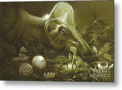 Hypacrosaurus Protecting Its Nest Metal Print by Jan Sovak
