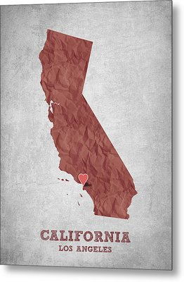 I Love Los Angeles California - Red Metal Print by Aged Pixel