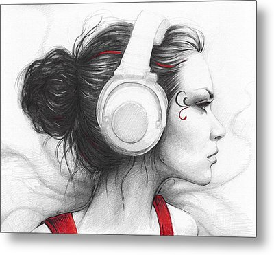 I Love Music Metal Print by Olga Shvartsur