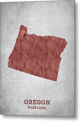 I Love Portland Oregon- Red Metal Print by Aged Pixel