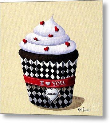 I Love You Cupcake Metal Print by Catherine Holman