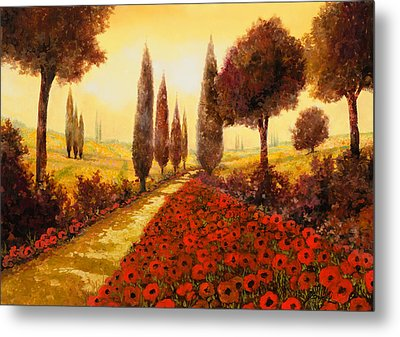 I Papaveri In Estate Metal Print by Guido Borelli