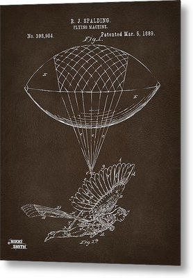 Icarus Airborn Patent Artwork Espresso Metal Print by Nikki Marie Smith