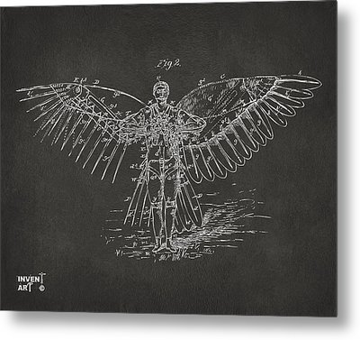 Icarus Flying Machine Patent Artwork Gray Metal Print by Nikki Marie Smith
