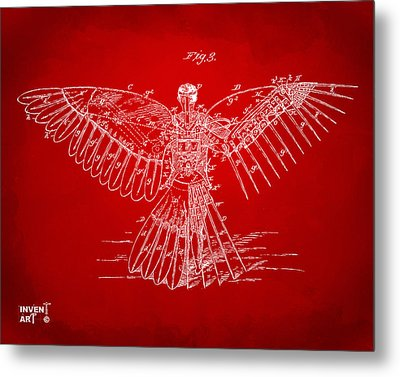 Icarus Human Flight Patent Artwork Red Metal Print by Nikki Marie Smith