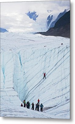 Ice-climbing Class On A Glacier Metal Print by Jim West