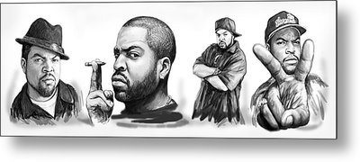 Ice Cube Blackwhite Group Art Drawing Sketch Poster Metal Print by Kim Wang