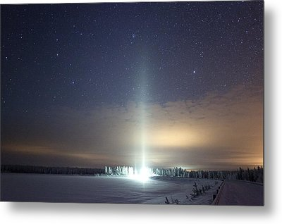 Ice Pillar In Night Sky Metal Print by Science Photo Library