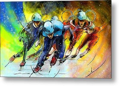 Ice Speed Skating 01 Metal Print by Miki De Goodaboom
