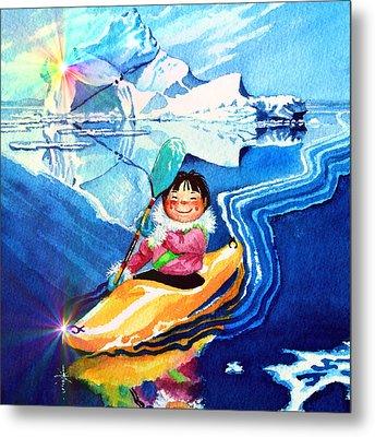 Iceberg Kayaker Metal Print by Hanne Lore Koehler