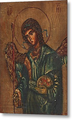 Icon Of Archangel Michael - Painting On The Wood Metal Print by Nenad Cerovic