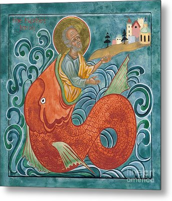 Icon Of Jonah And The Whale Metal Print by Juliet Venter