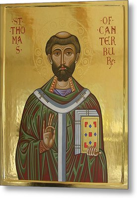 Icon Of St Thomas Becket Of Canterbury Metal Print by Peter Murphy