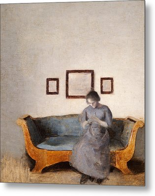 Ida Hammershoi Sitting On A Sofa Metal Print by Vilhelm Hammershoi
