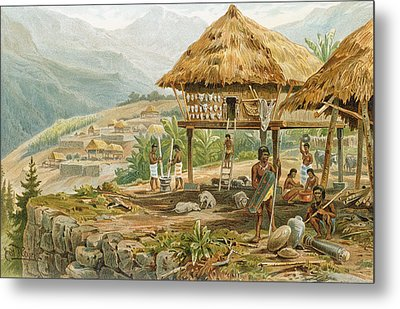 Igorrote Farm In Luzon, Philippines, From The History Of Mankind, Vol.1, By Prof. Friedrich Ratzel Metal Print by Hans Meyer