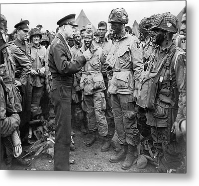 Ike With D-day Paratroopers Metal Print by Underwood Archives