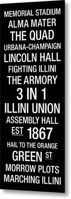 Illinois College Town Wall Art Metal Print by Replay Photos