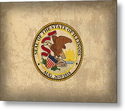 Illinois State Flag Art On Worn Canvas Metal Print by Design Turnpike