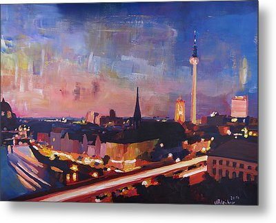 Illuminated Berlin Skyline At Dusk  Metal Print by M Bleichner